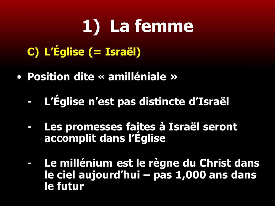 1) La femme C) L'Église (= Israël) Position dite « amilléniale »