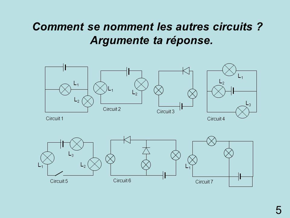 Comment se nomment les autres circuits Argumente ta réponse.