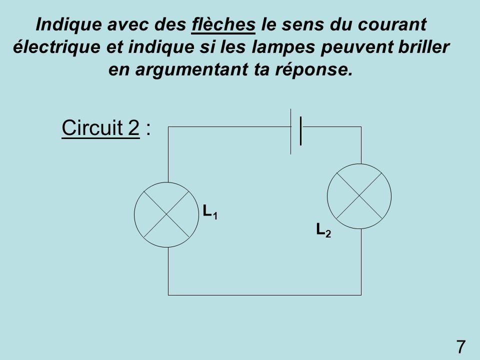 Indique avec des flèches le sens du courant électrique et indique si les lampes peuvent briller en argumentant ta réponse.
