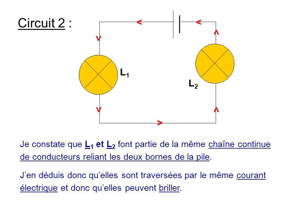 L1 L2. > Circuit 2 : Je constate que L1 et L2 font partie de la même chaîne continue de conducteurs reliant les deux bornes de la pile.