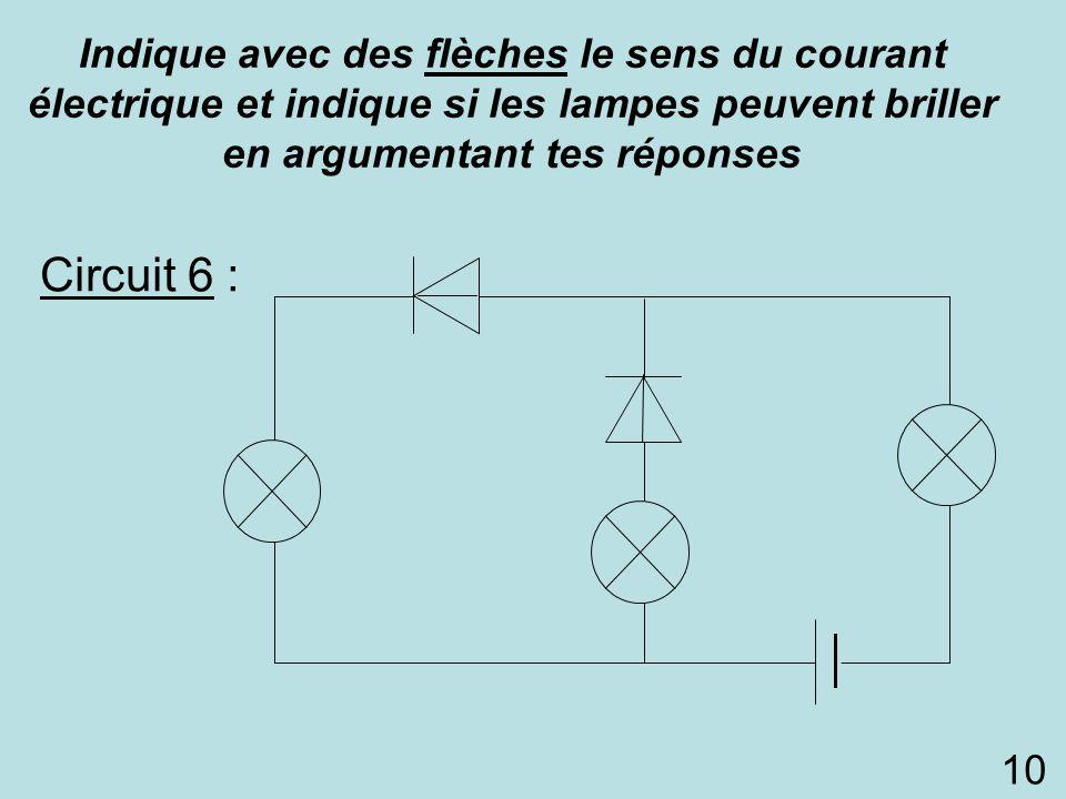 Indique avec des flèches le sens du courant électrique et indique si les lampes peuvent briller en argumentant tes réponses