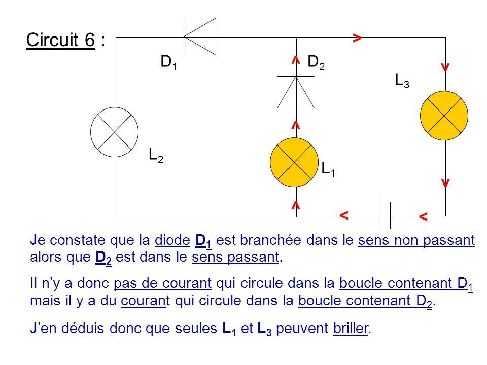 L3 L1. L2. D2. D1. > Circuit 6 : Je constate que la diode D1 est branchée dans le sens non passant alors que D2 est dans le sens passant.