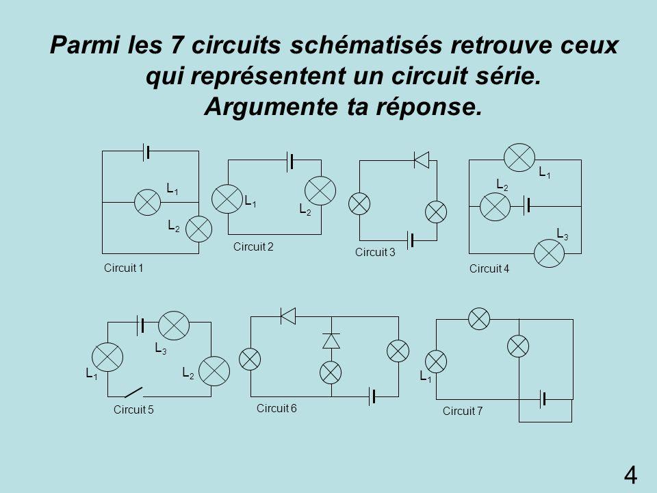 Parmi les 7 circuits schématisés retrouve ceux qui représentent un circuit série. Argumente ta réponse.