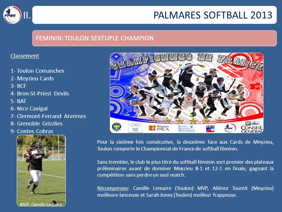 II. PALMARES SOFTBALL 2013 FEMININ: TOULON SEXTUPLE CHAMPION
