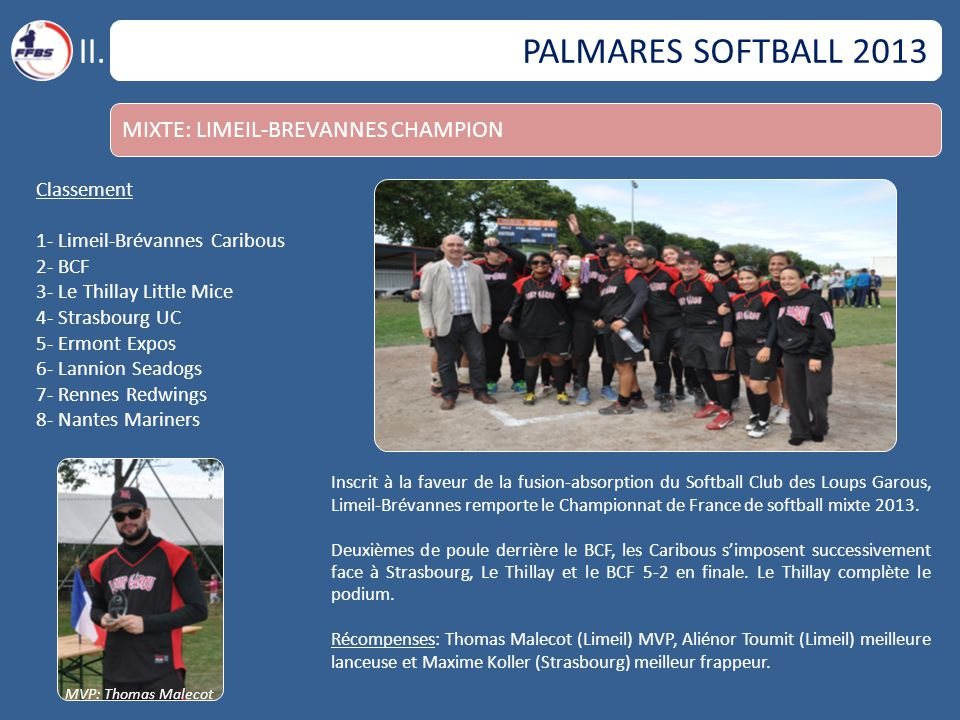 II. PALMARES SOFTBALL 2013 MIXTE: LIMEIL-BREVANNES CHAMPION Classement