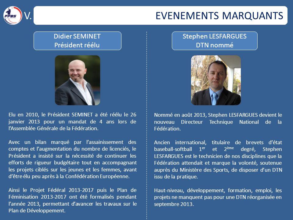 V. EVENEMENTS MARQUANTS Didier SEMINET Président réélu