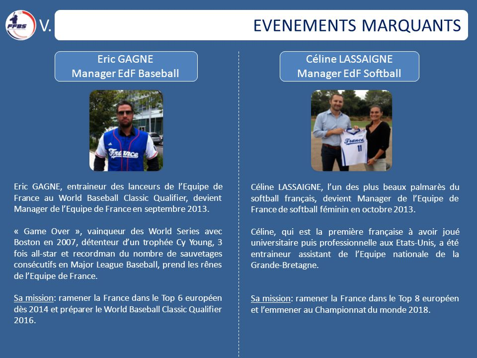 V. EVENEMENTS MARQUANTS Eric GAGNE Manager EdF Baseball