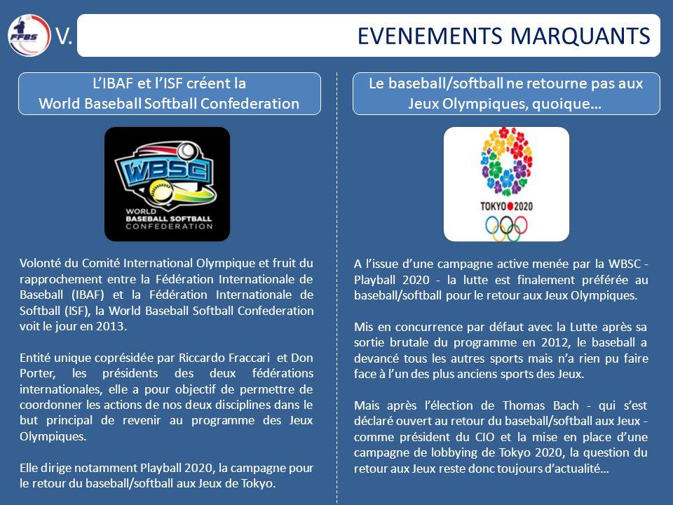 V. EVENEMENTS MARQUANTS L'IBAF et l'ISF créent la
