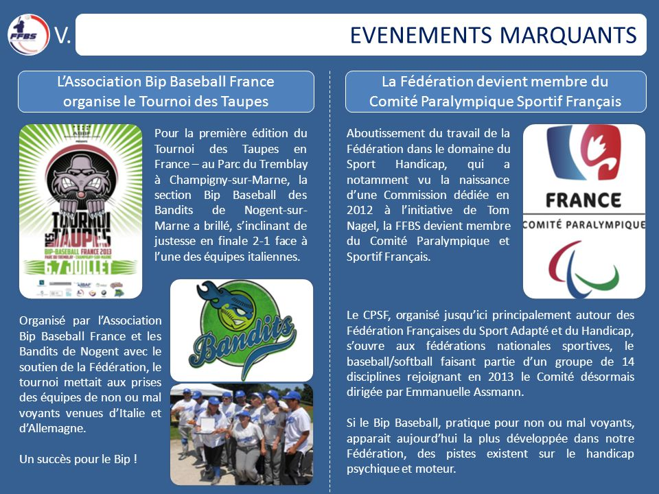 V. EVENEMENTS MARQUANTS L'Association Bip Baseball France