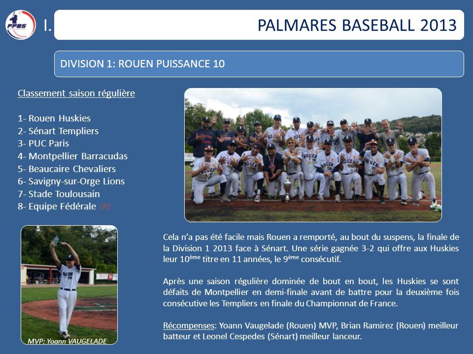 I. PALMARES BASEBALL 2013 DIVISION 1: ROUEN PUISSANCE 10