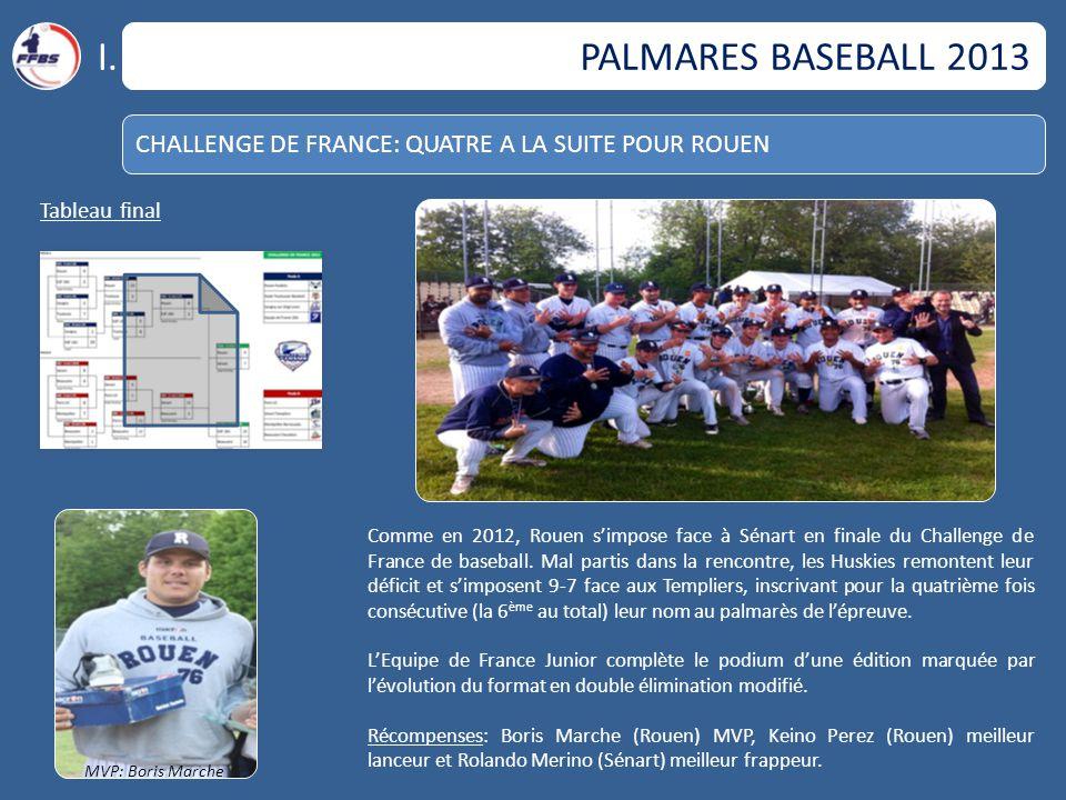 I. PALMARES BASEBALL 2013. CHALLENGE DE FRANCE: QUATRE A LA SUITE POUR ROUEN. Tableau final.
