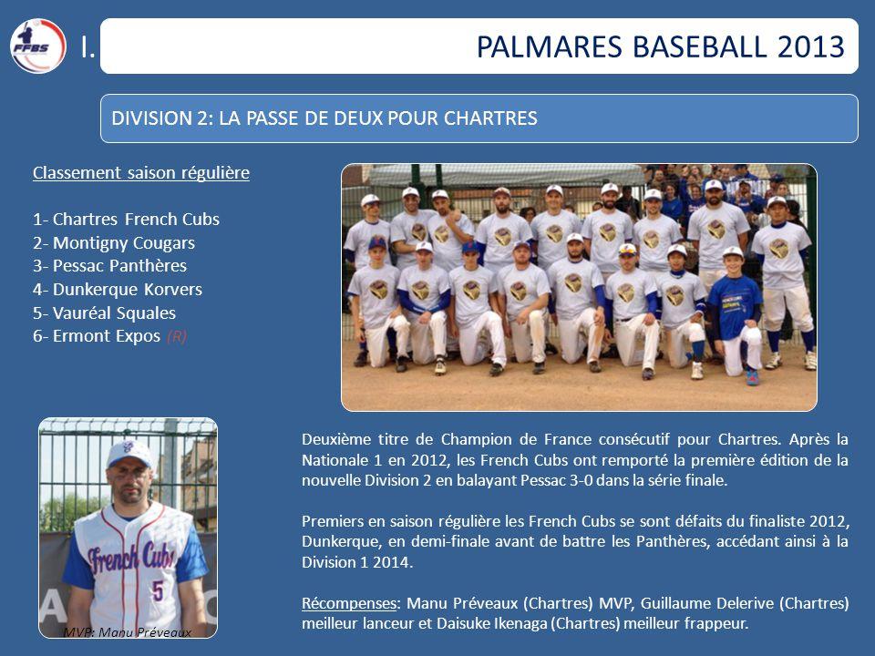 I. PALMARES BASEBALL 2013 DIVISION 2: LA PASSE DE DEUX POUR CHARTRES
