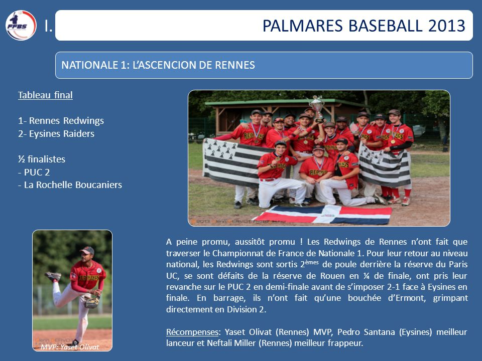 I. PALMARES BASEBALL 2013 NATIONALE 1: L'ASCENCION DE RENNES