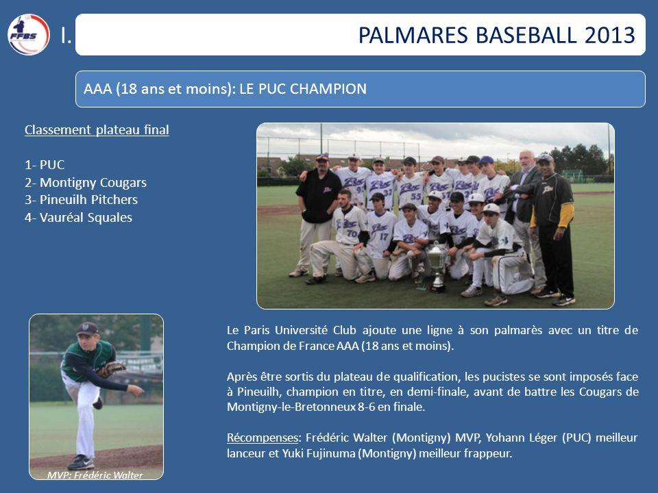 I. PALMARES BASEBALL 2013 AAA (18 ans et moins): LE PUC CHAMPION