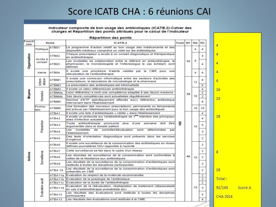 Score ICATB CHA : 6 réunions CAI