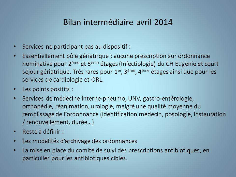 Bilan intermédiaire avril 2014