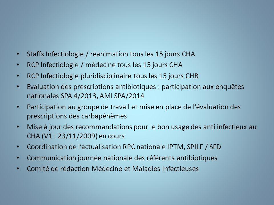 Staffs Infectiologie / réanimation tous les 15 jours CHA