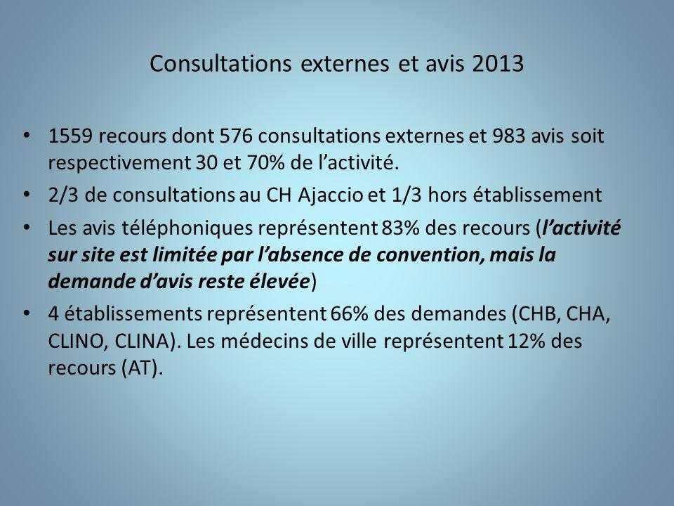 Consultations externes et avis 2013