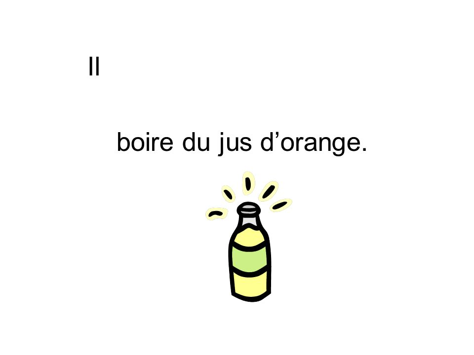 Il boire du jus d'orange.