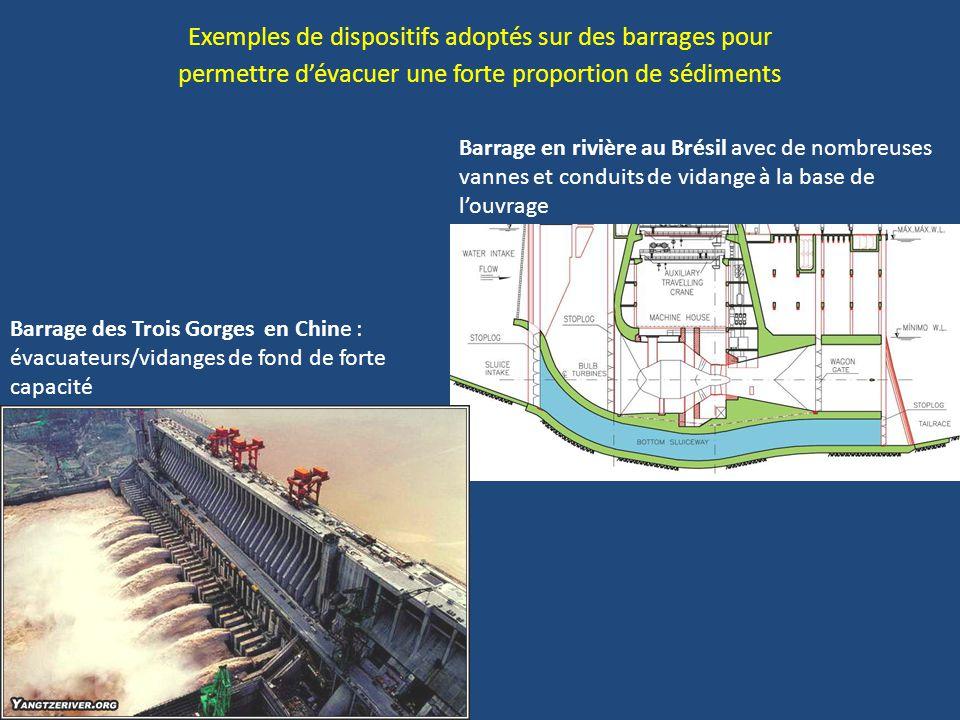 Exemples de dispositifs adoptés sur des barrages pour permettre d'évacuer une forte proportion de sédiments