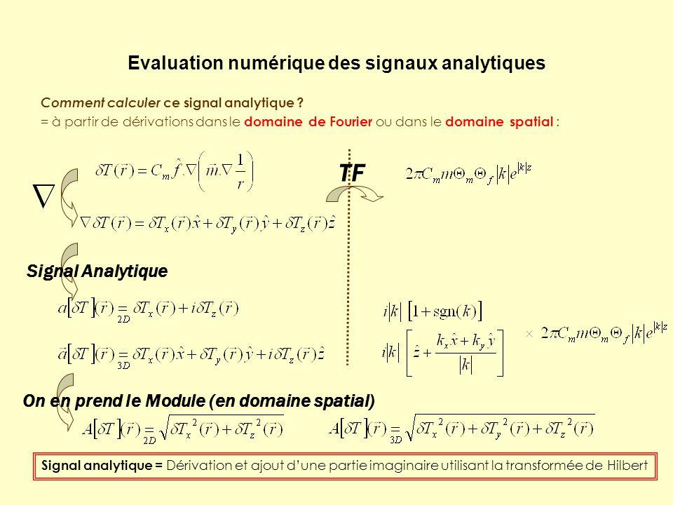 Evaluation numérique des signaux analytiques