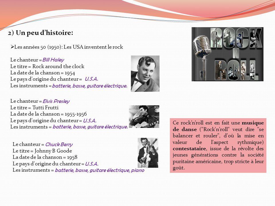 2) Un peu d'histoire: Les années 50 (1950): Les USA inventent le rock