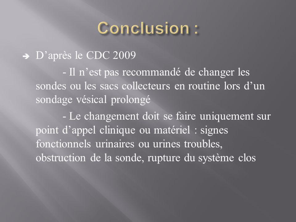 Conclusion : D'après le CDC 2009