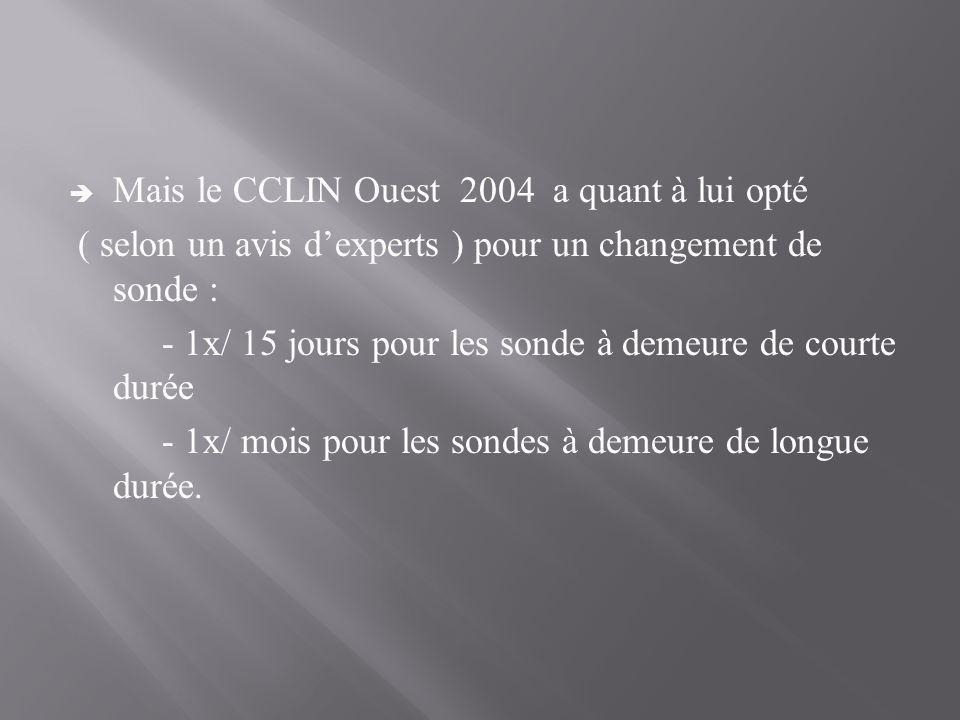 Mais le CCLIN Ouest 2004 a quant à lui opté