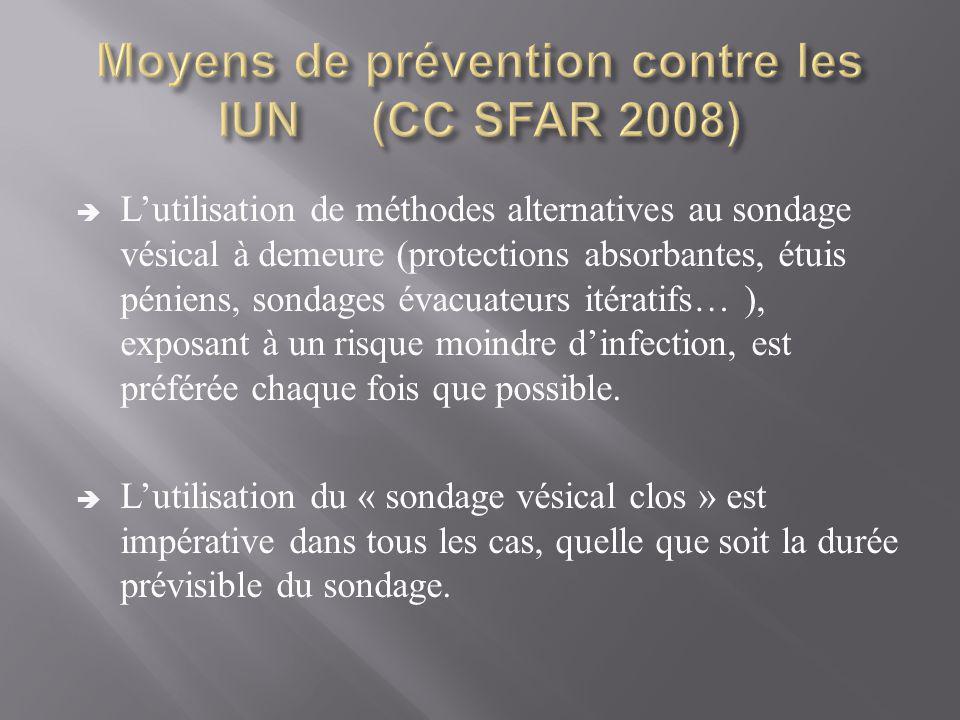 Moyens de prévention contre les IUN (CC SFAR 2008)