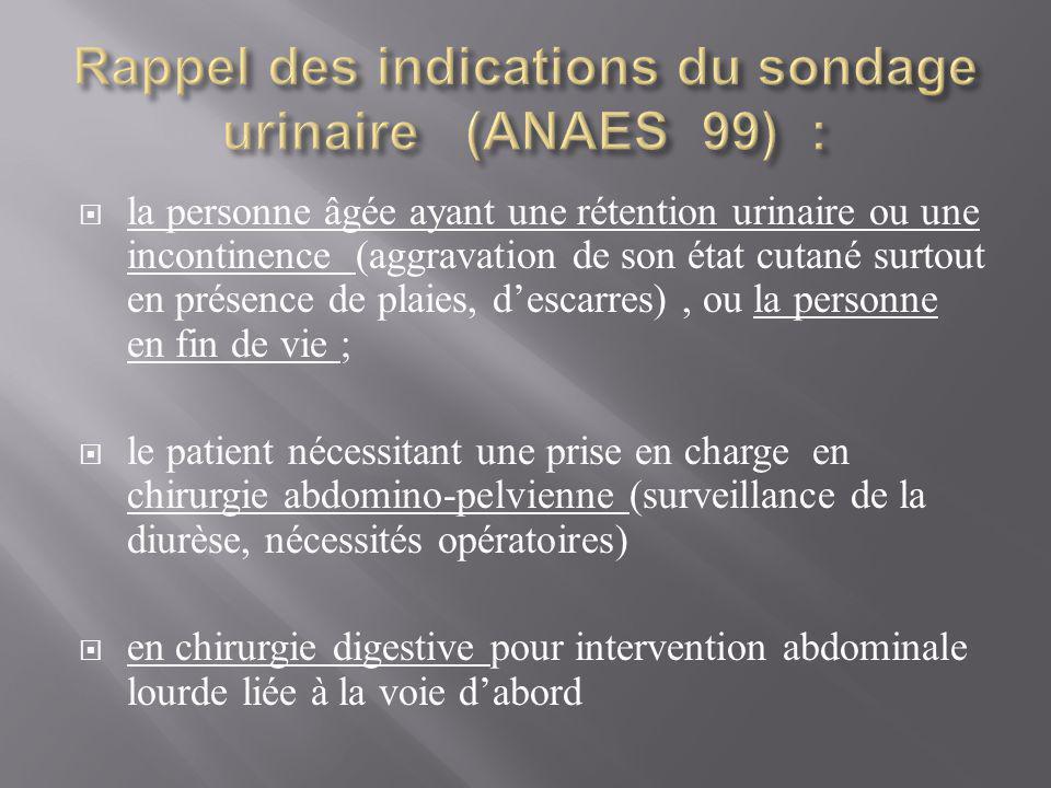 Rappel des indications du sondage urinaire (ANAES 99) :