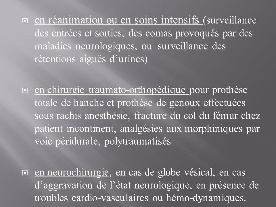 en réanimation ou en soins intensifs (surveillance des entrées et sorties, des comas provoqués par des maladies neurologiques, ou surveillance des rétentions aiguës d'urines)