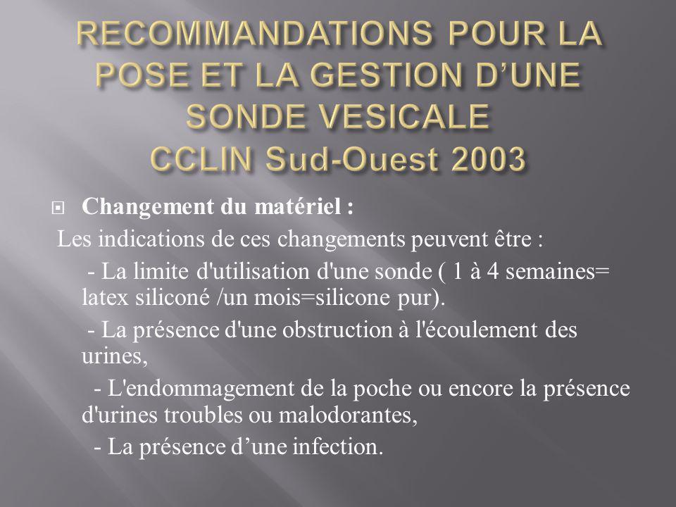 RECOMMANDATIONS POUR LA POSE ET LA GESTION D'UNE SONDE VESICALE CCLIN Sud-Ouest 2003