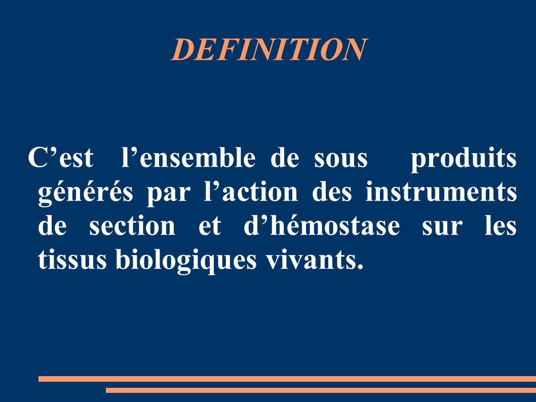 DEFINITION C'est l'ensemble de sous produits générés par l'action des instruments de section et d'hémostase sur les tissus biologiques vivants.