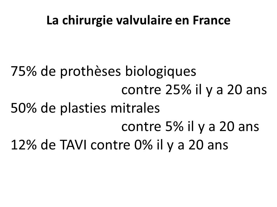 La chirurgie valvulaire en France