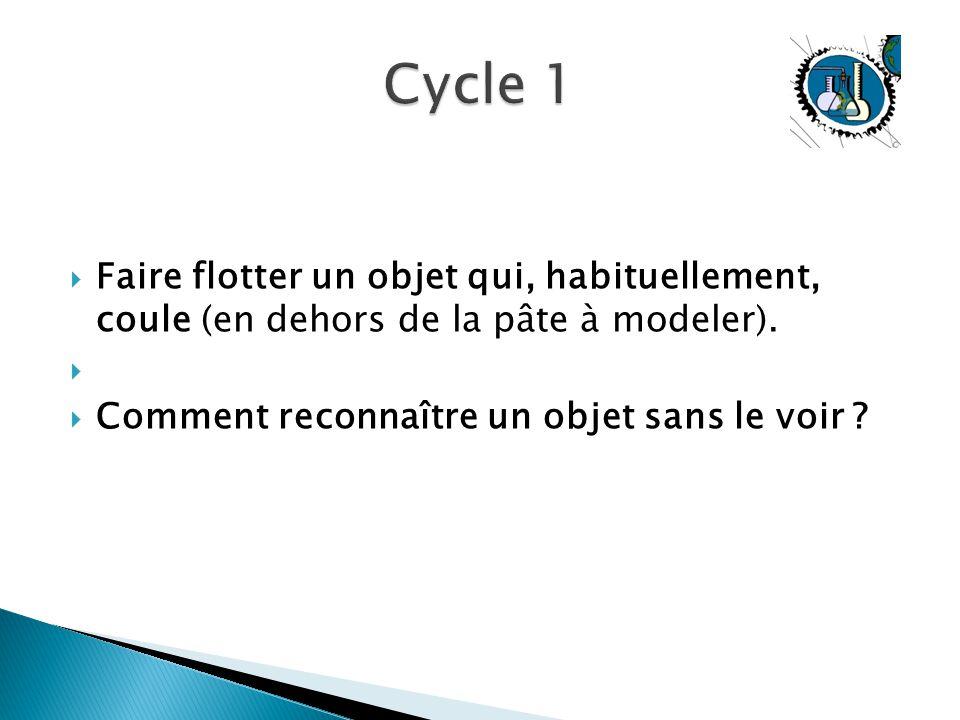 Cycle 1 Faire flotter un objet qui, habituellement, coule (en dehors de la pâte à modeler).