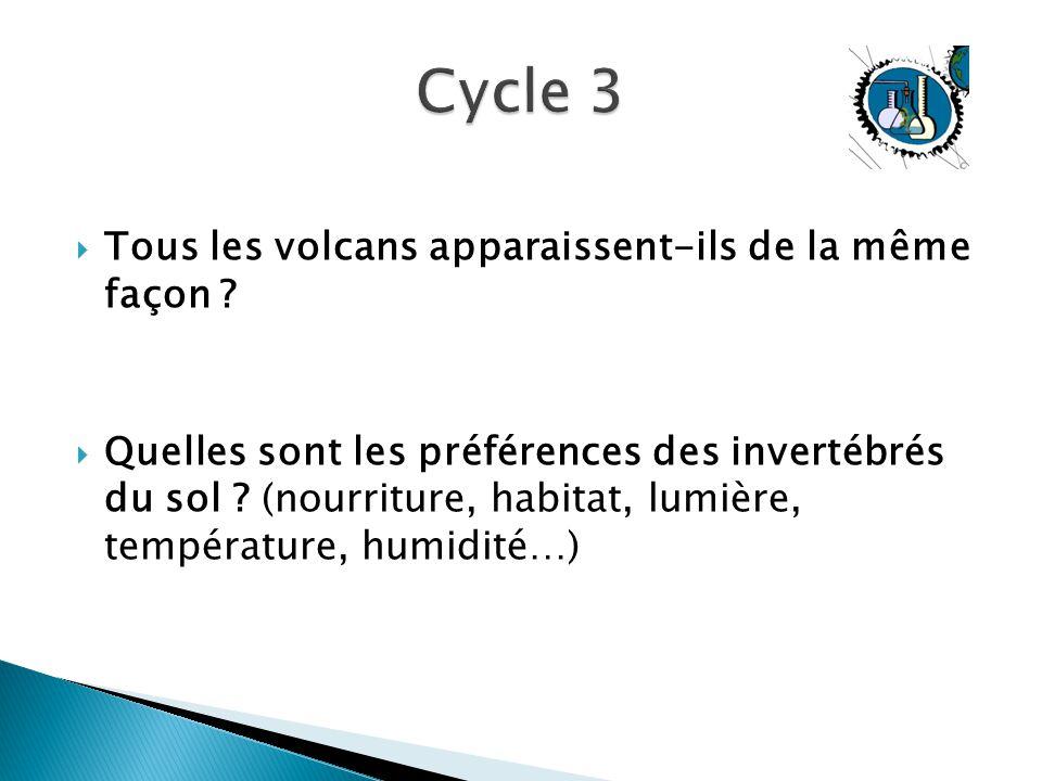 Cycle 3 Tous les volcans apparaissent-ils de la même façon