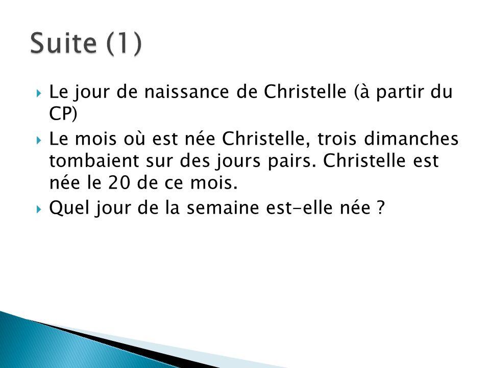 Suite (1) Le jour de naissance de Christelle (à partir du CP)