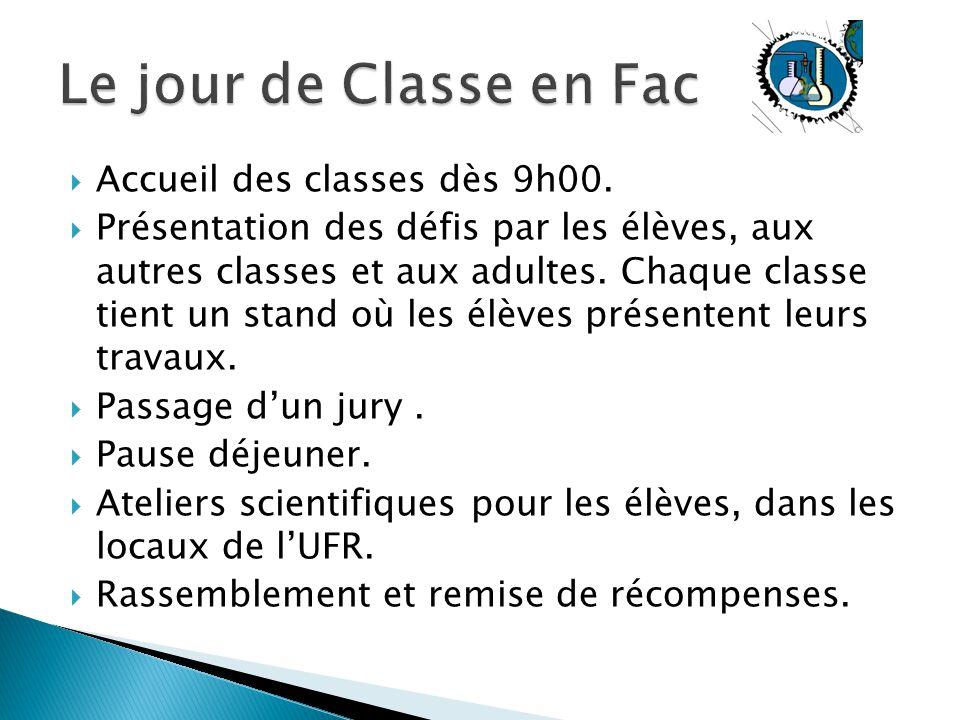 Le jour de Classe en Fac Accueil des classes dès 9h00.