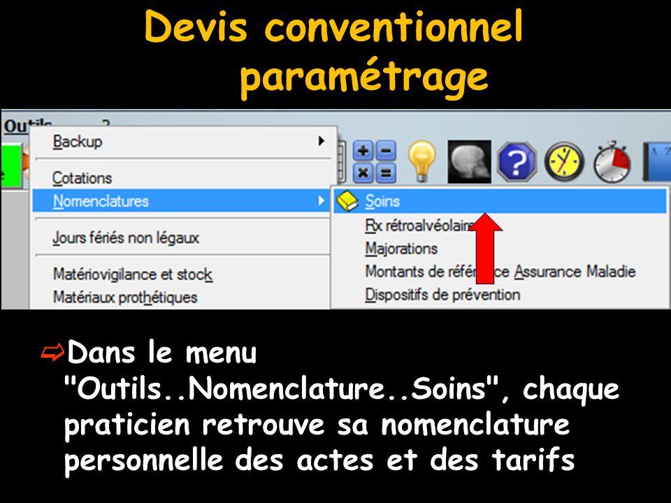 Devis conventionnel paramétrage