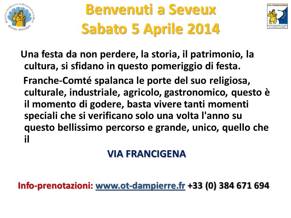 Benvenuti a Seveux Sabato 5 Aprile 2014