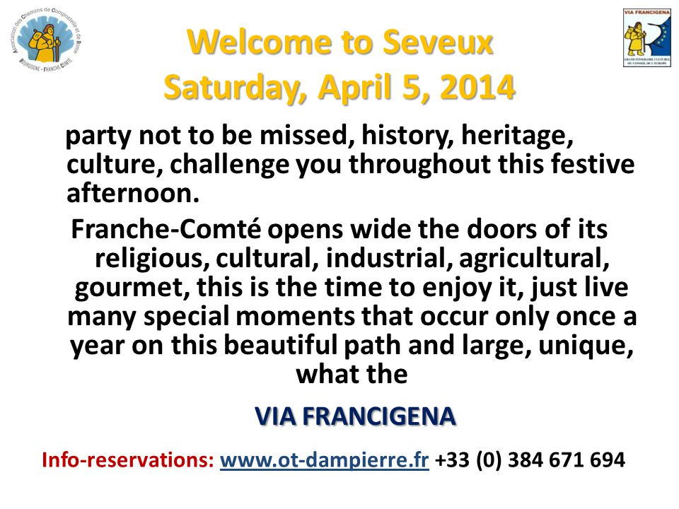 Welcome to Seveux Saturday, April 5, 2014