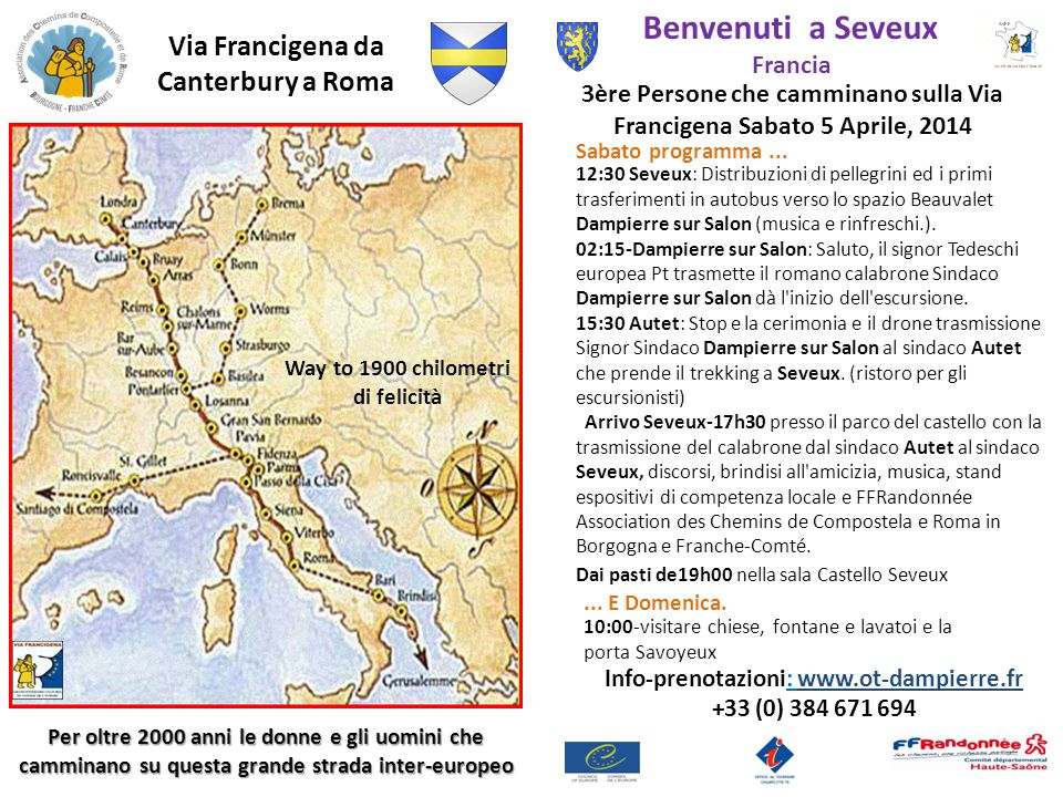Benvenuti a Seveux Via Francigena da Canterbury a Roma Francia