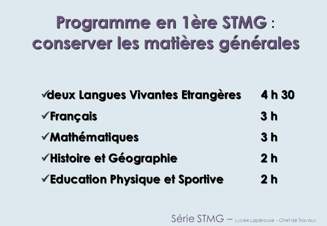 Programme en 1ère STMG : conserver les matières générales
