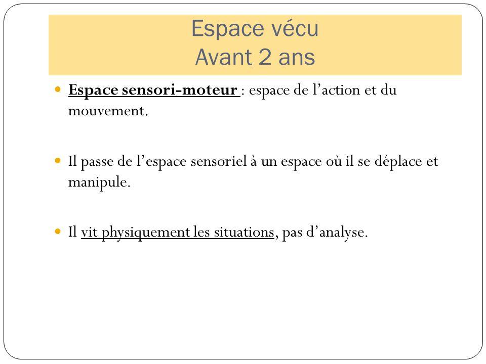 Espace vécu Avant 2 ans Espace sensori-moteur : espace de l'action et du mouvement.