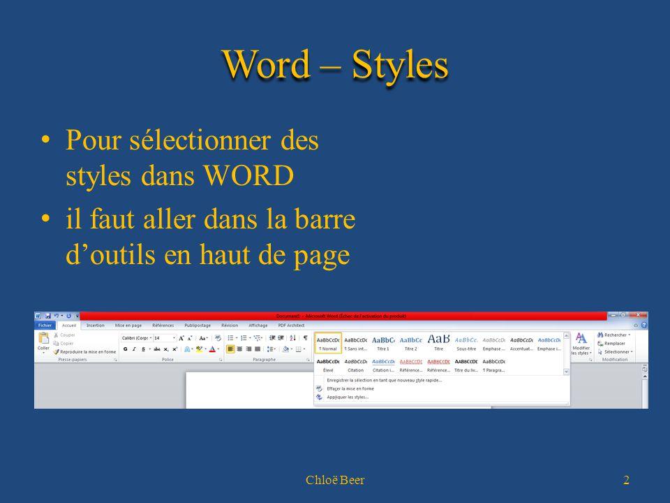 Word – Styles Pour sélectionner des styles dans WORD