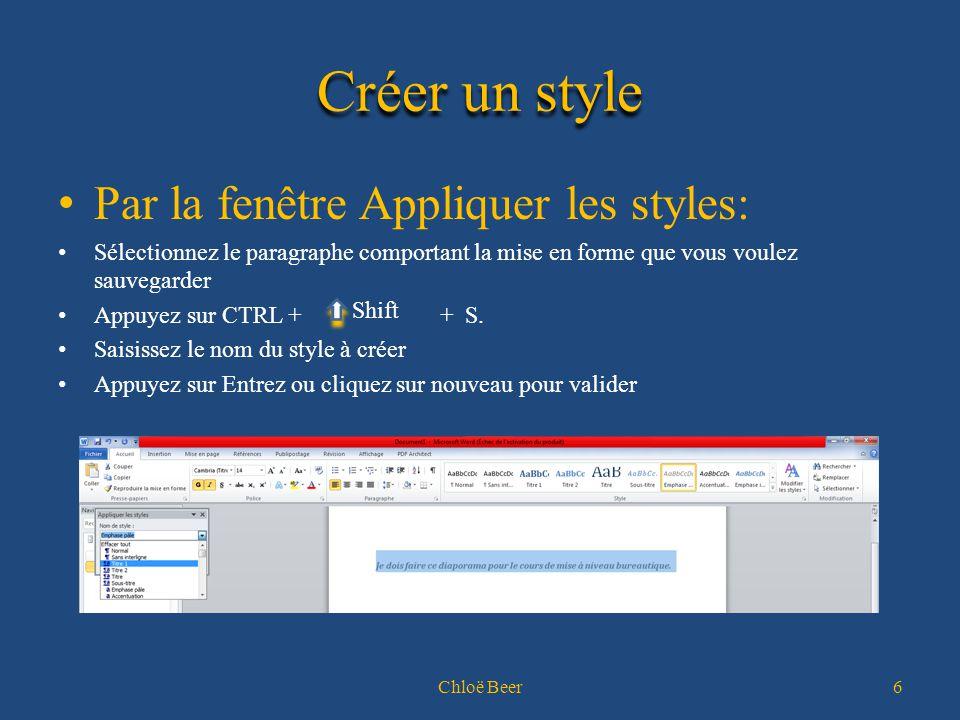 Créer un style Par la fenêtre Appliquer les styles: