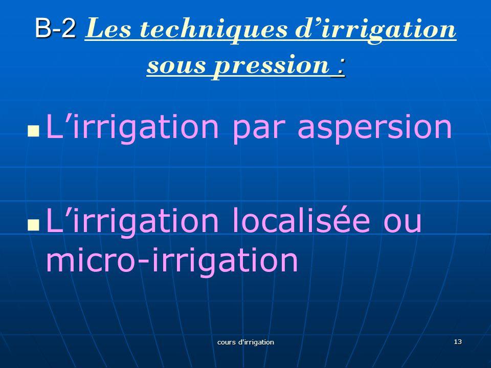 B-2 Les techniques d'irrigation sous pression :