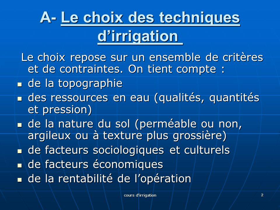 A- Le choix des techniques d'irrigation