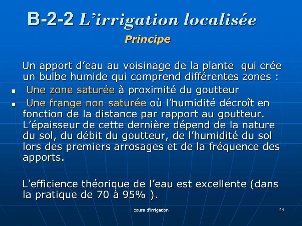 B-2-2 L'irrigation localisée