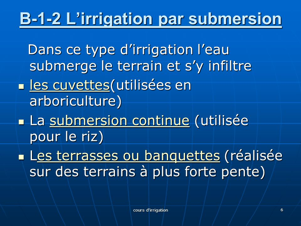 B-1-2 L'irrigation par submersion